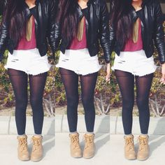 Women's Fashion. Tumblr Girl. Shorts with leggings. Maroon top.leather jacket. Utility boots. School ootd