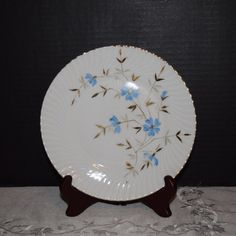 Blue Floral Salad Plate Vintage Gilded by ShellysSelectSalvage