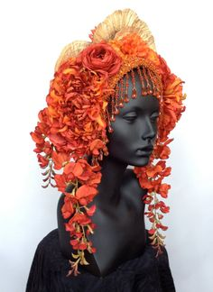 MADE TO ORDER Flower Headdress with Beaded by MissGDesignsShop by MissGDesignsShop