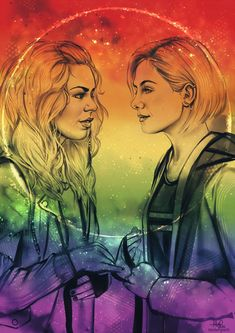 """""""Rose Tyler and Thirteen having a Gallifreyan wedding in rainbow colors. One of the lovely commissions I worked on recently. Rose And The Doctor, Doctor Who Rose Tyler, Onii San, Doctor Who Companions, Doctor Who Fan Art, 13th Doctor, Fandoms, Torchwood, Geronimo"""