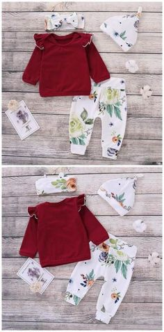 Ruffled Shoulder Rose Print Top, Floral Pants, Hat 3 Pcs Set in Red Birthday Outfit For Women, Birthday Gifts For Girls, Birthday Parties, Toddler Outfits, Girl Outfits, Toddler Girls, Baby Girls, Girls Ruffle Pants, Baby Jumpsuit