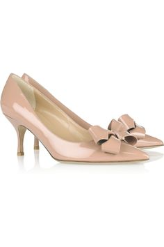 VALENTINO  Bow-embellished patent-leather pumps