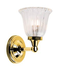 Bathroom Austen1 Polished Brass Fitting Height:220 mm Width / Diameter:140 mm Projection / Overall Drop:165 mm Finish:Polished Brass Max Wattage:1 x 40W G9 IP Rating:IP44