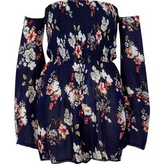 River Island Blue floral print bardot playsuit ($60) ❤ liked on Polyvore featuring jumpsuits, rompers, blue, playsuits, blue rompers, floral print romper, long-sleeve romper, floral romper and blue romper