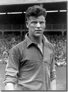 John Charles (Wales, 1950–1965, 38 caps, 15 goals) pictured in his 1st Welsh shirt.