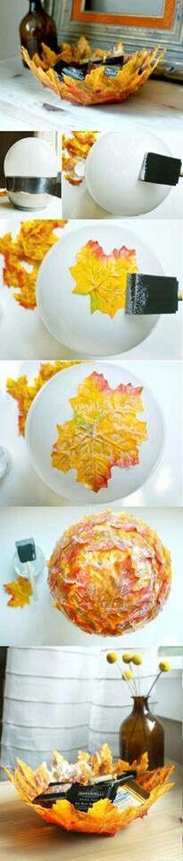 bol decoracio amb fulles seques