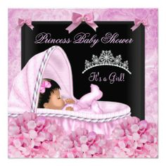 African American Little Princess Baby Shower Girl Announcement
