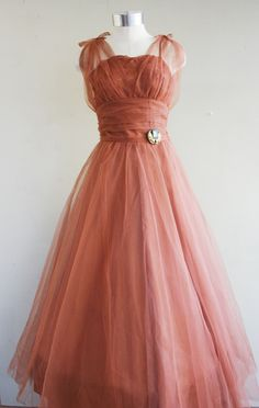I'm His Lucky Penny - Copper - Circa 1950s - Accent with Teals or Greens - Prom - Party Dress - Wedding - by Emma Domb. $175.00, via Etsy.