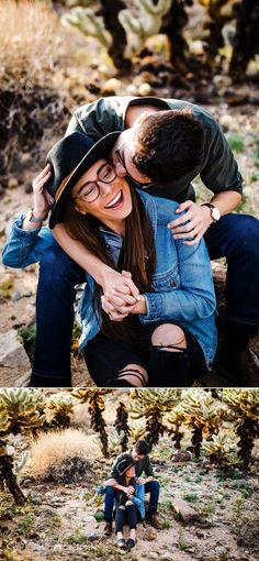 Joshua Tree Couple's Session – Cholla Cactus Garden - Modern Teen Couple Pictures, Cute Couples Photos, Teen Couples, Bridal Boudoir Photography, Couple Photography Poses, Family Photography, Friend Photography, Maternity Photography, Garden Cactus