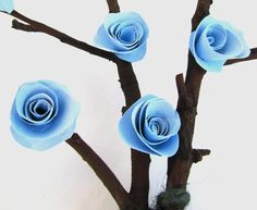 Floral Centerpiece, Blue Roses, Wedding Centerpiece, Blue, Eco friendly, Natural Home Decor. $28.00, via Etsy.