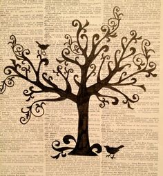 Drawing - Tree Silhouette on Vintage Dictionary Page via Etsy
