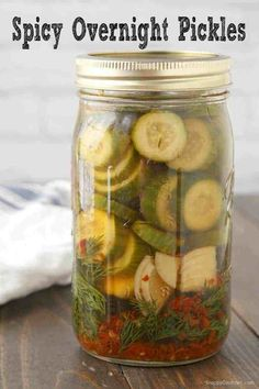 Spicy Pickle Recipe (Homemade Overnight Refrigerator Pickles) - Spicy Pickle Recipe – how to make homemade spicy dill pickles - Canning Spicy Pickles, Spicy Pickle Recipes, Garlic Dill Pickles, Pickled Garlic, Cucumber Recipes, Canning Recipes, Canning 101, Pressure Canning, Gourmet