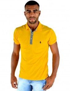 Camisa Polo Masculina Com Detalhe No Pate (Amarelo Canário) Polo Shirt, Polo Ralph Lauren, Mens Tops, Shirts, Fashion, Men's Shirts, Yellow, Men's, Outfits