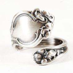 Petite Spoon Ring Unique Violet Pattern Sterling by Spoonier, $48.00