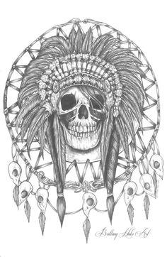 Skull Dream catcher Satin Paper Print Tattoo by Pajamasquid