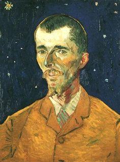 """V. Van Gogh, Ritratto di Eugène Boch """"Lo ritrarrei dunque così com'è, più fedelmente possibile, per cominciare...Per finirlo farò il colorista arbitrario. Esagererò il biondo dei capelli , arrivando ai toni arancione, ai gialli cromo, al limone pallido. Dietro la testa, invece di dipingere il muro banale del misero appartamento, dipingerò l'infinito, farò uno sfondo semplice del blu più ricco, più intenso che riuscirò ad ottenere."""" Arles, 11 agosto 1888"""