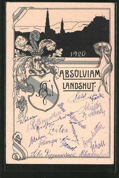 Alte Ansichtskarte: AK Landshut, Absolvia 1920, Studentenwappen, Schattenbild der Stadt