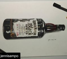 Do you feel like having a slug of rum?  Fantastic mixed media drawing with a #graphmastermarker pigment liner by @jennisampo