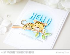 1 June 2017 | Kiwi Koncepts |   I created my blue circular background with copic markers. Then with some watercolors, I added a light touch of splatter with the same blue. I die cut this piece with some wonky stitches. Then I die cut the word 'hello' with the Happy Greetings Die-Namics (previously Free with $60 purchase) out of the background and again out of some fun foam. I elevated the letters and inlaid it back.