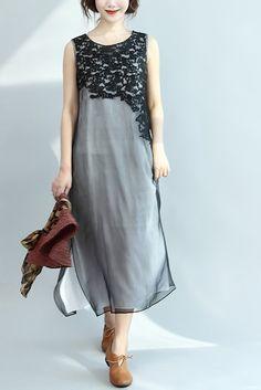 Organza Vintage Side Slit Long Loose Dress Comfort Women Clothes