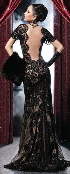 Elio Aziz ~ Low Open Back Black Embroiderd Lace Gown 2013