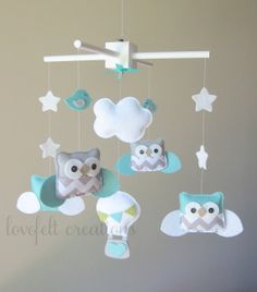 Baby Mobile  Owl Mobile  Aqua and Gray Mobile  Hot by LoveFeltXoXo, $135.00