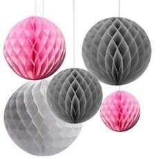 6-Pack Mixed Grey Pink White Hanging Honeycomb by partypapersupply