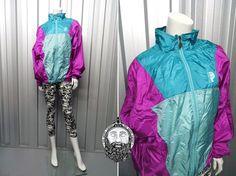 Vintage 80's Purple Bomber Jacket Tricolour Jacket by ZeusVintage, £20.00