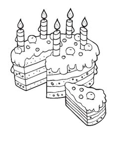 Birthday Cake Slice For Mom Coloring Pages : Best Place to Color Mom Coloring Pages, Happy Birthday Coloring Pages, Printable Coloring Pages, Food Coloring, Coloring Sheets, Adult Coloring, Coloring Books, Colorful Cakes, Online Coloring
