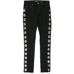 Pre-owned Saint Laurent Leather-Trimmed Straight-Leg Jeans ($875) ❤ liked on Polyvore featuring men's fashion, men's clothing, men's jeans, black, mens ripped jeans, mens destroyed jeans, mens jeans, mens silver jeans and mens distressed jeans