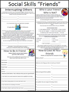 Social Skills Worksheets - Friends Repinned by urban wellness: www.urbanwellnesscounseling.com
