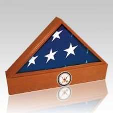 The Washington Coast Guard Cherry Flag Display Case & Urn is crafted from cherry wood. This flag case is the perfect way to memorialize a loved one that has served in the military. The base of the flag case is an Urn. Create a heirloom for future generations.  Optional military emblem of your choice available. Made to accommodate a 5' x 9 1/2' US Flag.
