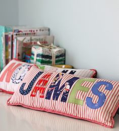 applique name pillows