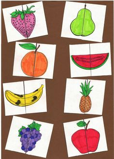 Frutas/puzle Preschool Learning Activities, Infant Activities, Classroom Activities, Kids Learning, Kids Crafts, Preschool Crafts, Games For Toddlers, Toddler Play, Kids Education