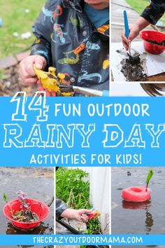 Check out 14 fun filled rainy day activities and ideas to play OUTSIDE in the rain this summer with the kids! Everything you see is all about indoors - grab a good raincoat and watch the kids have a blast in the rain with these fun ways to play in the rain whether you're camping or just wanting to embrace the weather at home or in preschool! #rainy #rainydays #rainydayactivities #outdooractivities