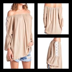 Boho Style Bell Sleeve Taupe Top Size Medium BNWT Boho Style Bell Sleeve Taupe Top Size Medium BNWT Fabric: Polyester/ Rayon Young & Contemporary very loose fitting Top with Beautiful Lace Detail on sleeve. No PP/Trades. Thanks for Looking! April Spirit Tops