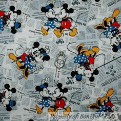 BonEful FABRIC FQ Cotton Quilt Red Disney Mickey Minnie Mouse Head Baby Boy Girl