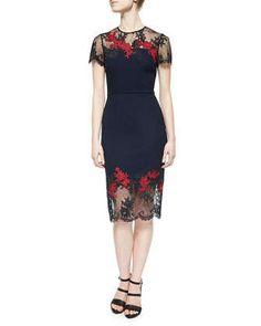 Keni Floral-Embroidered Lace-Trimmed Dress by Erdem