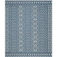 Safavieh Dhurrie Collection DHU572A Handmade Wool Area Rug, 8 by 10-Feet, Dark Blue and Ivory