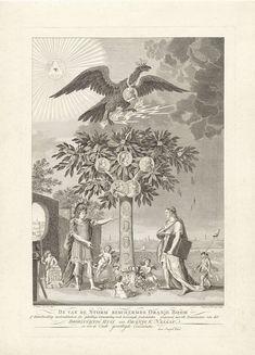 Franciscus Sansom | Allegorie op het herstel van stadhouder Willem V, 1787, Franciscus Sansom, Hendrik Roosing, 1787 | In het midden de Oranjeboom met daarin medaillons met de portretten van de stadhouder, zijn gemalin en kinderen en (aan de stam) die van zijn voorouders Willem I t/m IV. Op de bloemen staan Latijnse woorden. De boom wordt beschermd door de Pruisische adelaar. Linksboven het Alziend Oog. Links staat de hertog van Brunswijk-Wolfenbüttel in de gedaante van Mars. Bij hem staat…