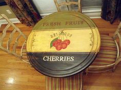 tabletop painted like vintage cherry sign - love it