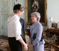 The Duchess of Gloucester greets Mathilde, the Queen of Belgium