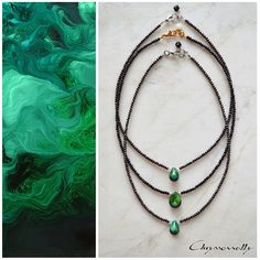 JEWELRY | Chryssomally || Art & Fashion Designer - Necklace with amazing emerald green chrysocolla gemstones paired with pearls and crystals Turquoise Necklace, Beaded Necklace, Fashion Art, Fashion Design, Necklace Designs, Emerald Green, Gemstones, Pearls, Crystals