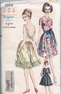 VERY RARE 1960s vintage pattern VOGUE 5554 1962 size by GreatScott, $39.99
