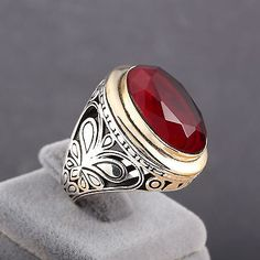 Ottoman Motif Handmade Red Ruby Stone 925 Sterling Silver Men's Ring Size 8-12