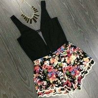 Wish   Fashion Women Jumpsuits 2015 Hot Selling Sexy Floral Print Bodycon Playsuit Tropical Jumpsuit Rompers Macacao Feminino 00192