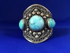 Nepalese Sterling Silver Spider WEB Turquoise Cuff | eBay