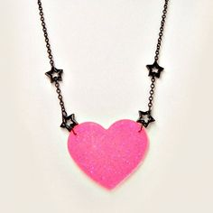 Pastel Goth Necklace Kawaii Black Stars Chain by blacktulipshop, $12.00
