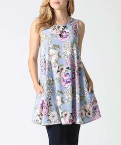 Look what I found on #zulily! Blue & Lavender Floral Pocket Sleeveless Tunic…