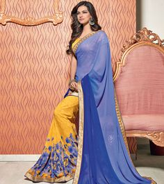 #Blue & #Yellow Printed #Georgette #Saree By #Vishal #Hypno at #Indianroots